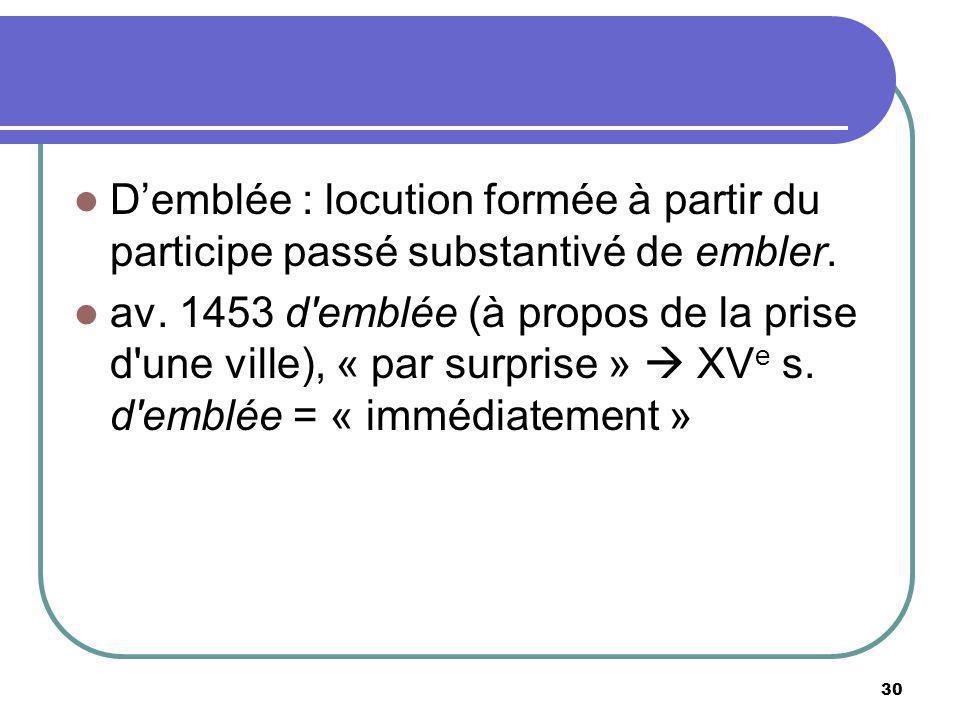 Demblée : locution formée à partir du participe passé substantivé de embler. av. 1453 d'emblée (à propos de la prise d'une ville), « par surprise » XV