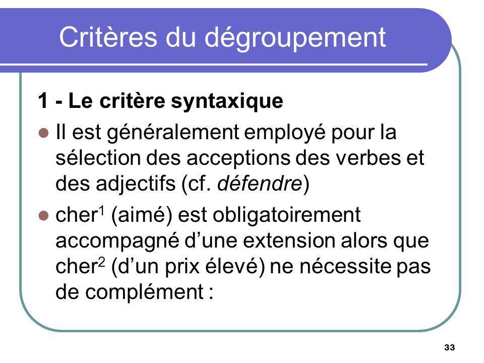 Critères du dégroupement 1 - Le critère syntaxique Il est généralement employé pour la sélection des acceptions des verbes et des adjectifs (cf. défen