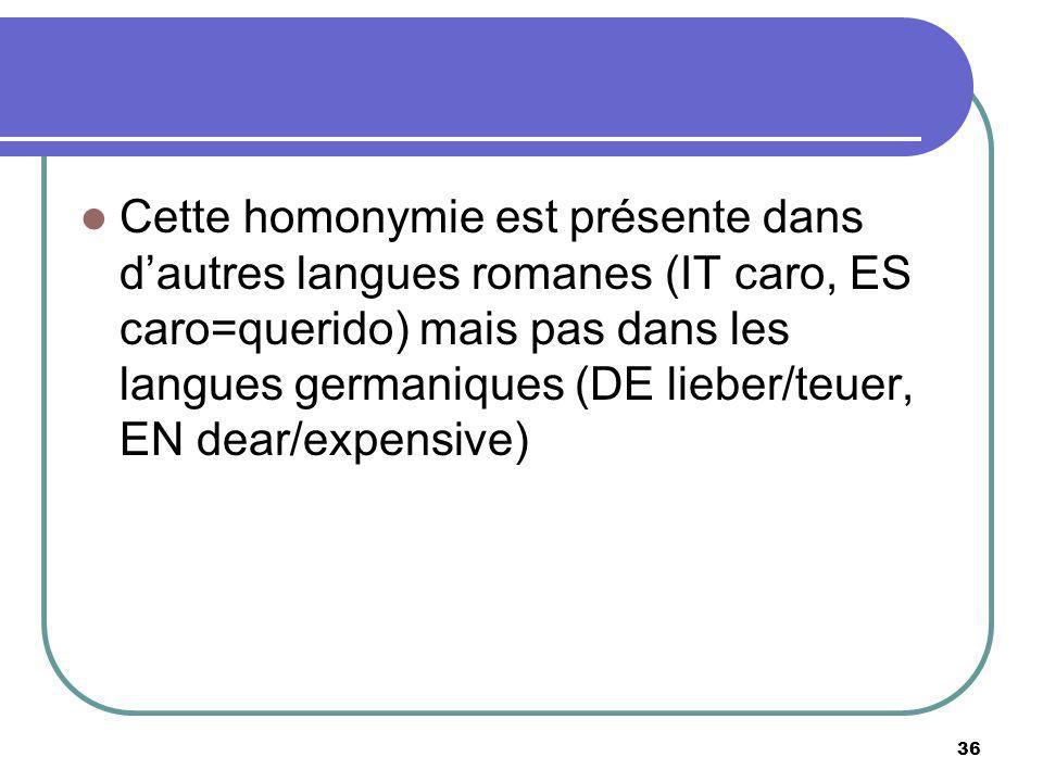 Cette homonymie est présente dans dautres langues romanes (IT caro, ES caro=querido) mais pas dans les langues germaniques (DE lieber/teuer, EN dear/e