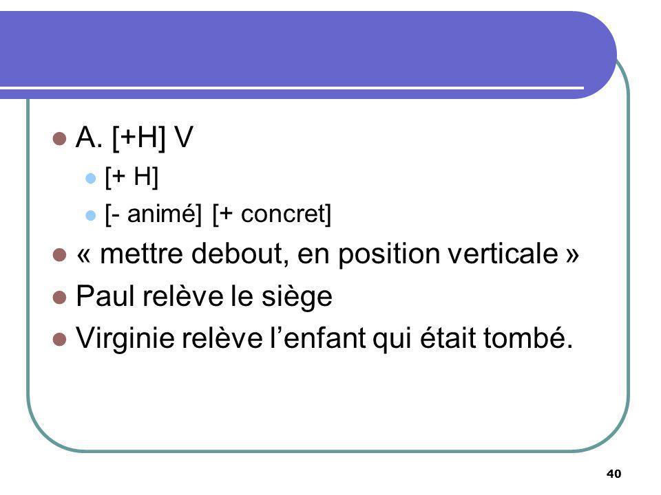 A. [+H] V [+ H] [- animé] [+ concret] « mettre debout, en position verticale » Paul relève le siège Virginie relève lenfant qui était tombé. 40