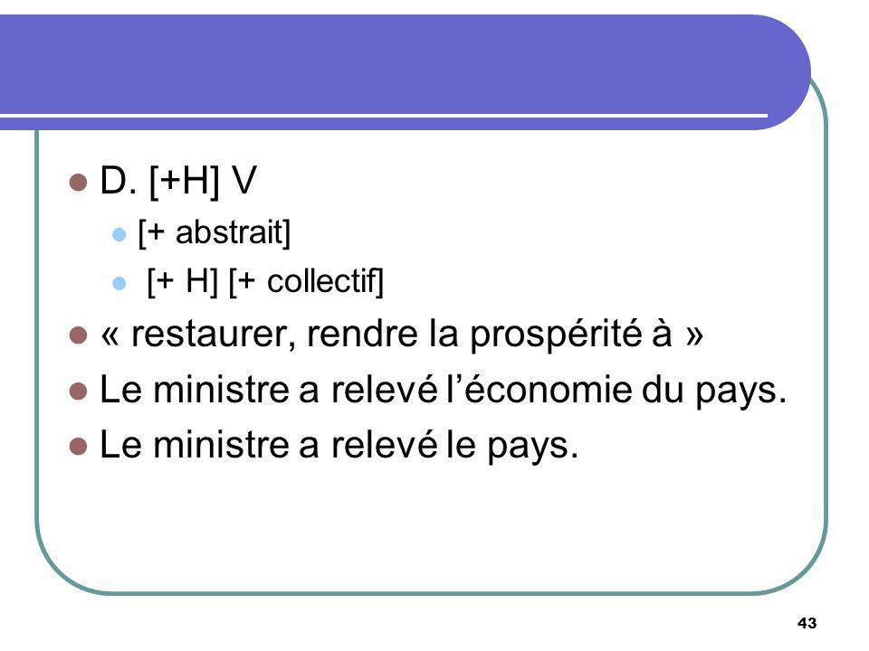 D. [+H] V [+ abstrait] [+ H] [+ collectif] « restaurer, rendre la prospérité à » Le ministre a relevé léconomie du pays. Le ministre a relevé le pays.
