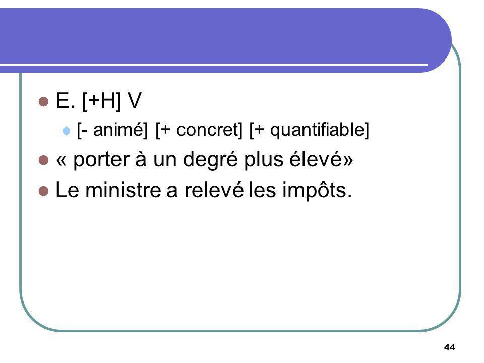 E. [+H] V [- animé] [+ concret] [+ quantifiable] « porter à un degré plus élevé» Le ministre a relevé les impôts. 44