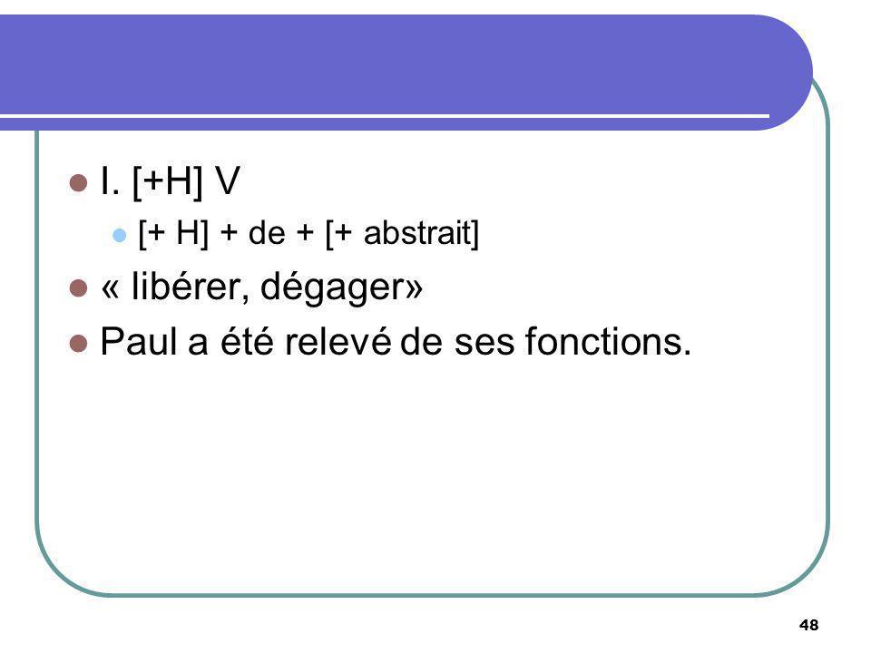 I. [+H] V [+ H] + de + [+ abstrait] « libérer, dégager» Paul a été relevé de ses fonctions. 48