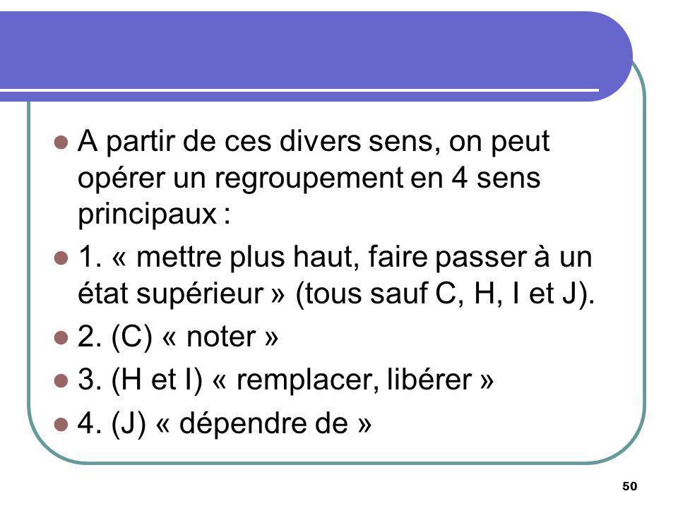 A partir de ces divers sens, on peut opérer un regroupement en 4 sens principaux : 1. « mettre plus haut, faire passer à un état supérieur » (tous sau
