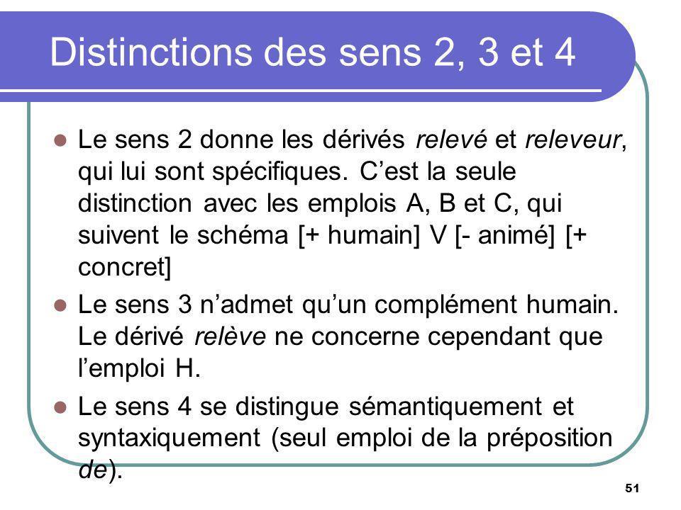 Distinctions des sens 2, 3 et 4 Le sens 2 donne les dérivés relevé et releveur, qui lui sont spécifiques. Cest la seule distinction avec les emplois A