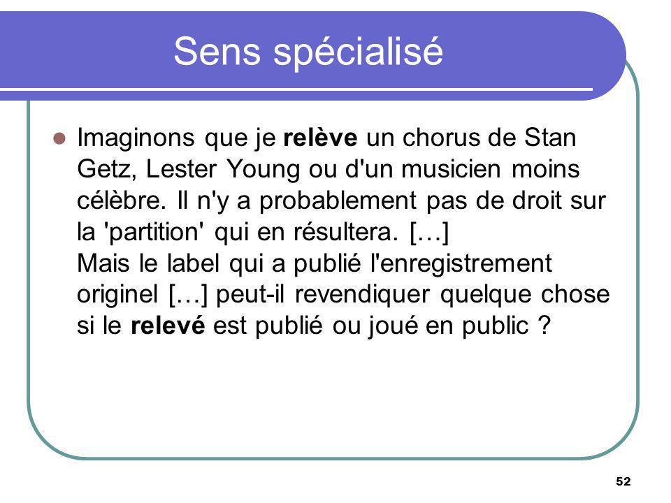 Sens spécialisé Imaginons que je relève un chorus de Stan Getz, Lester Young ou d'un musicien moins célèbre. Il n'y a probablement pas de droit sur la