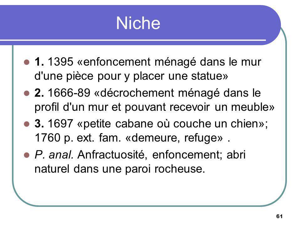 Niche 1. 1395 «enfoncement ménagé dans le mur d'une pièce pour y placer une statue» 2. 1666-89 «décrochement ménagé dans le profil d'un mur et pouvant