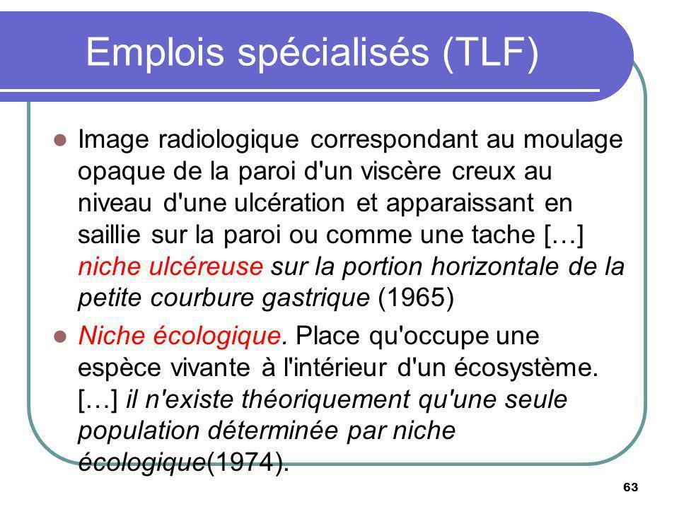 Emplois spécialisés (TLF) Image radiologique correspondant au moulage opaque de la paroi d'un viscère creux au niveau d'une ulcération et apparaissant