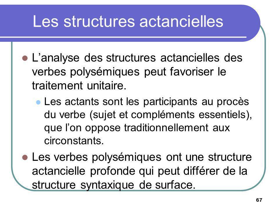 Les structures actancielles Lanalyse des structures actancielles des verbes polysémiques peut favoriser le traitement unitaire. Les actants sont les p