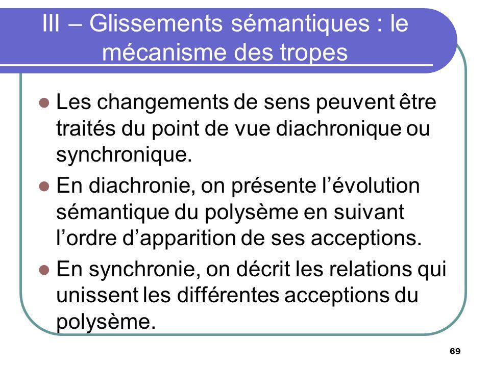 III – Glissements sémantiques : le mécanisme des tropes Les changements de sens peuvent être traités du point de vue diachronique ou synchronique. En