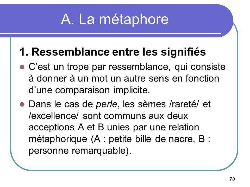 A. La métaphore 1. Ressemblance entre les signifiés Cest un trope par ressemblance, qui consiste à donner à un mot un autre sens en fonction dune comp