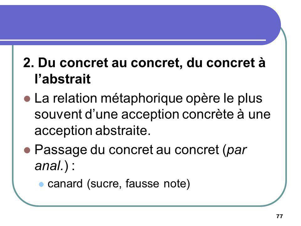 2. Du concret au concret, du concret à labstrait La relation métaphorique opère le plus souvent dune acception concrète à une acception abstraite. Pas