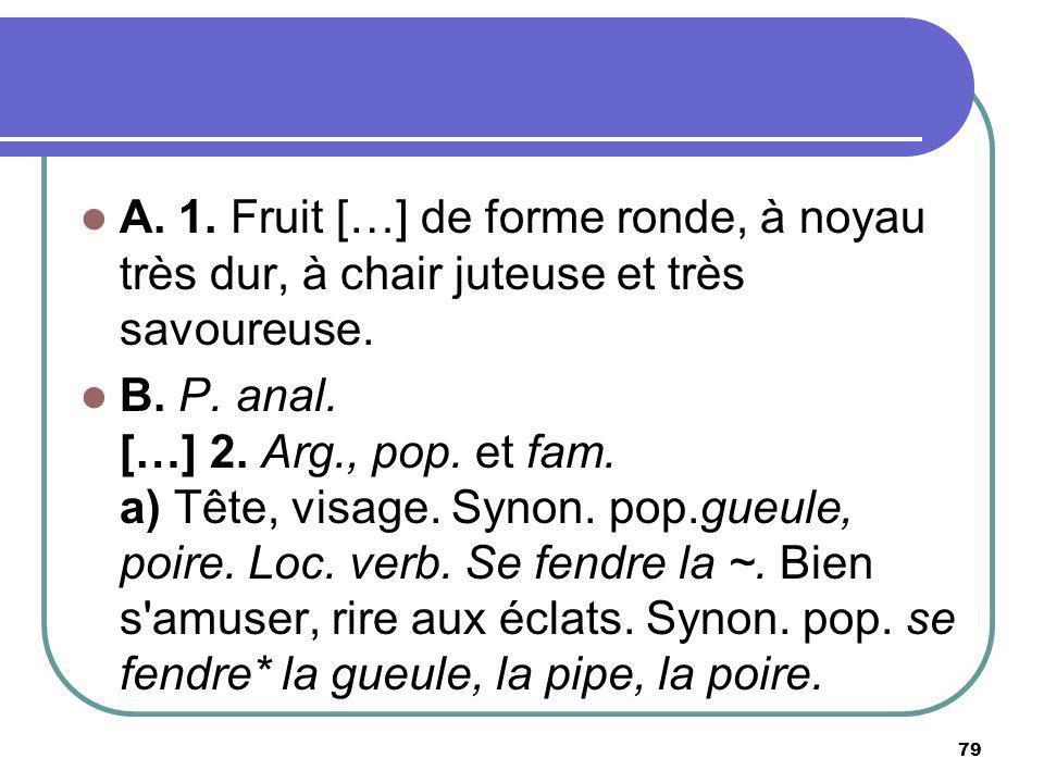 A. 1. Fruit […] de forme ronde, à noyau très dur, à chair juteuse et très savoureuse. B. P. anal. […] 2. Arg., pop. et fam. a) Tête, visage. Synon. po