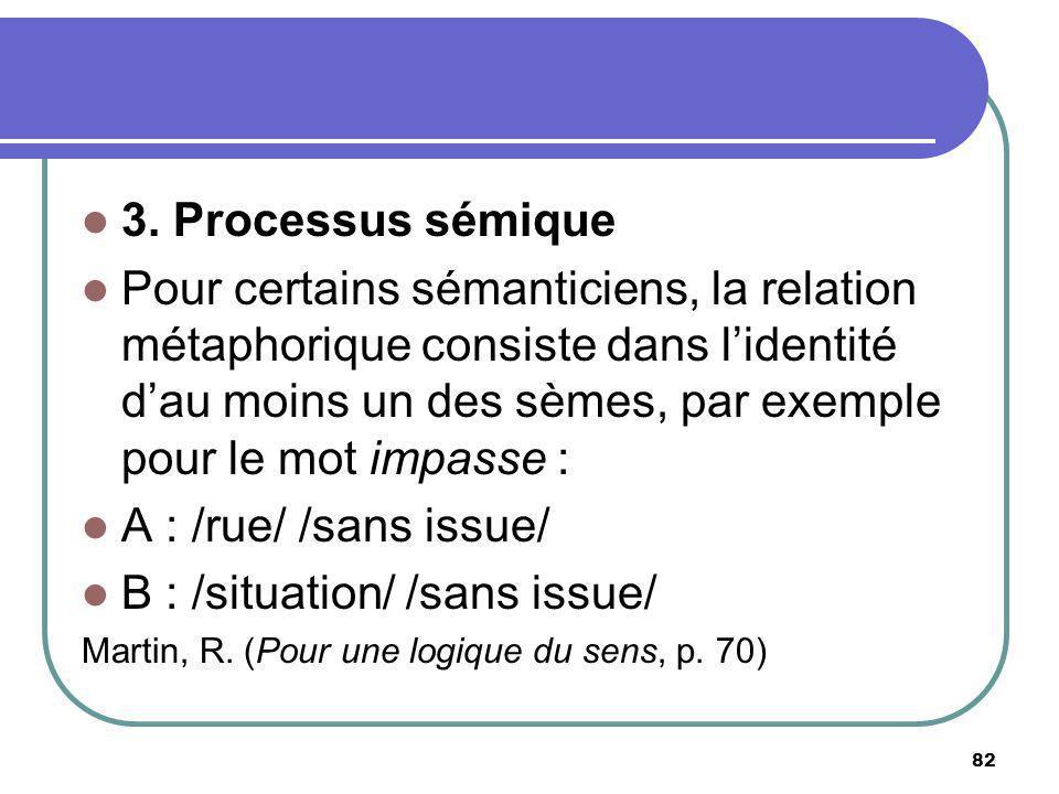 3. Processus sémique Pour certains sémanticiens, la relation métaphorique consiste dans lidentité dau moins un des sèmes, par exemple pour le mot impa