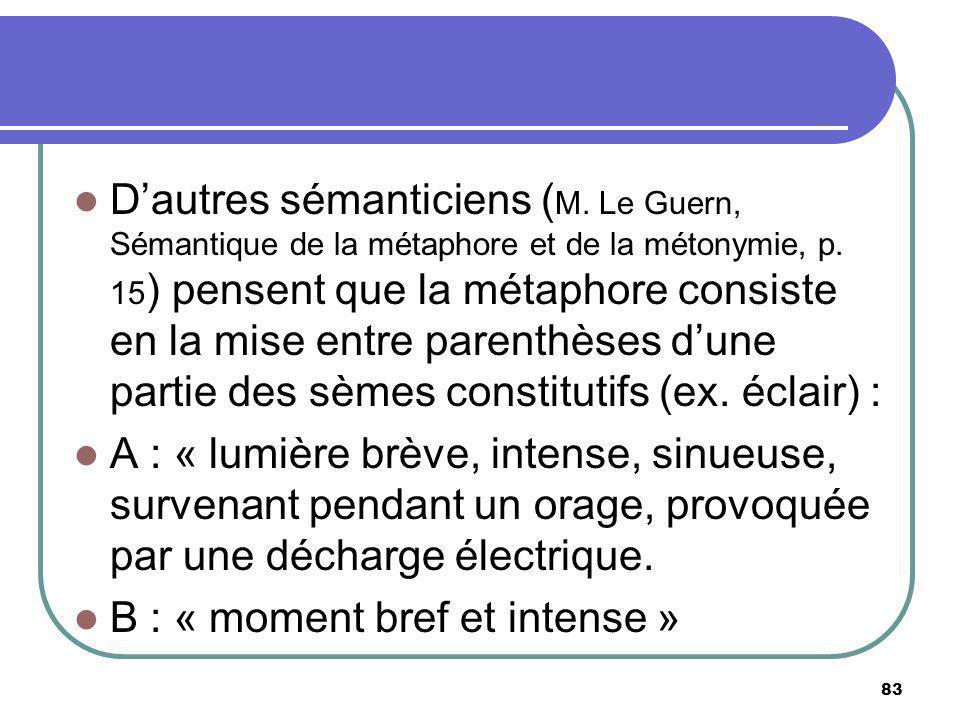 Dautres sémanticiens ( M. Le Guern, Sémantique de la métaphore et de la métonymie, p. 15 ) pensent que la métaphore consiste en la mise entre parenthè