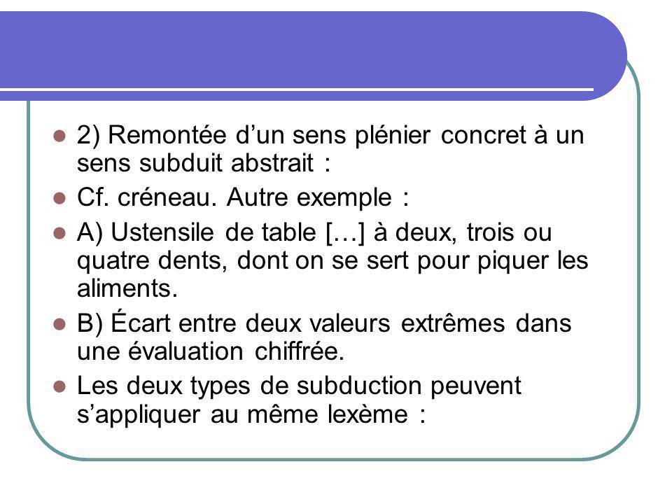 2) Remontée dun sens plénier concret à un sens subduit abstrait : Cf. créneau. Autre exemple : A) Ustensile de table […] à deux, trois ou quatre dents