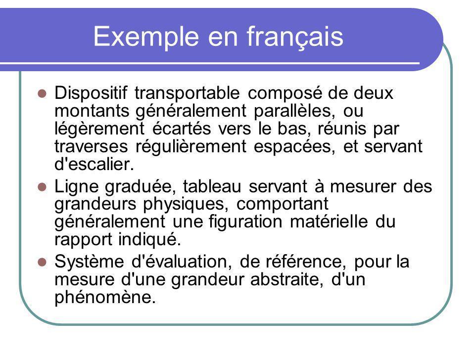 Exemple en français Dispositif transportable composé de deux montants généralement parallèles, ou légèrement écartés vers le bas, réunis par traverses