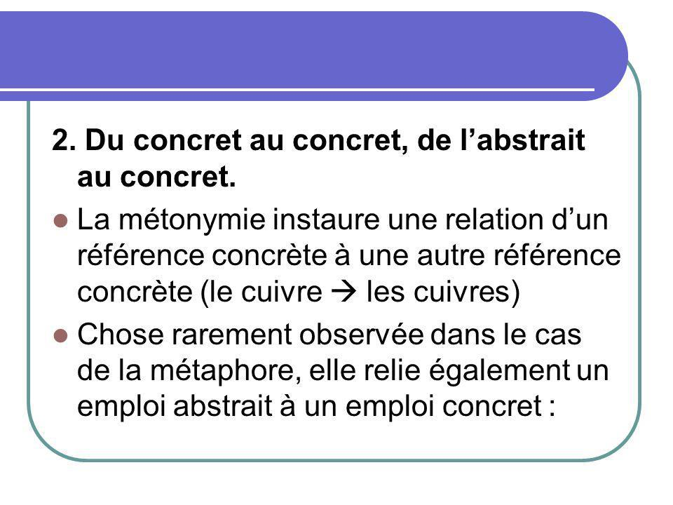 2. Du concret au concret, de labstrait au concret. La métonymie instaure une relation dun référence concrète à une autre référence concrète (le cuivre