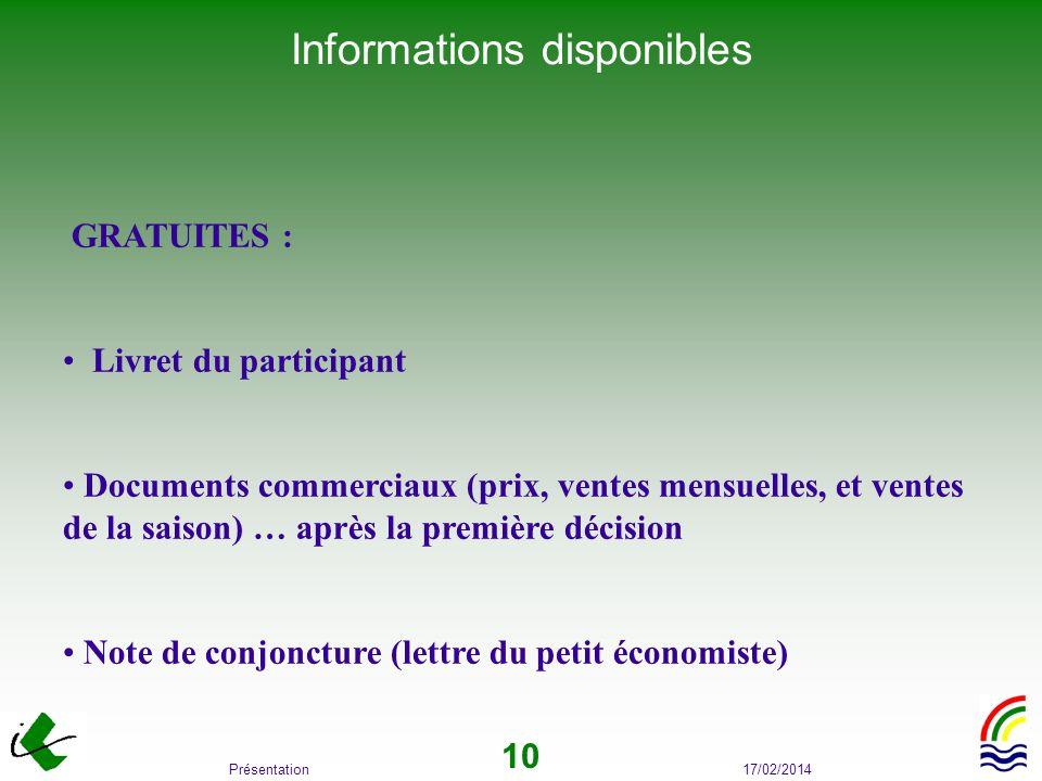17/02/2014Présentation 10 Informations disponibles GRATUITES : Livret du participant Documents commerciaux (prix, ventes mensuelles, et ventes de la s