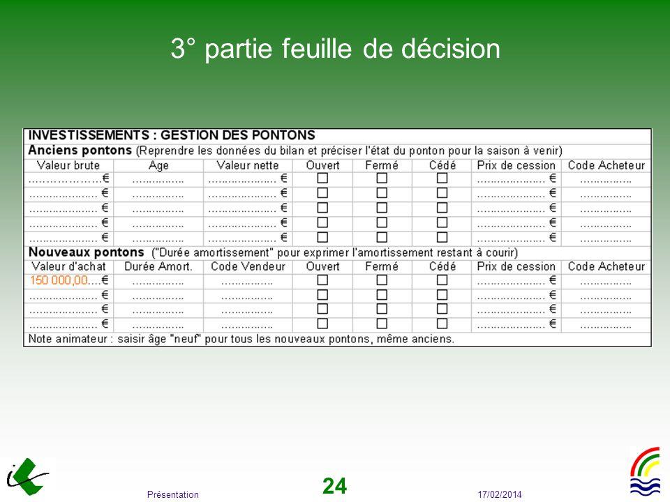17/02/2014Présentation 24 3° partie feuille de décision
