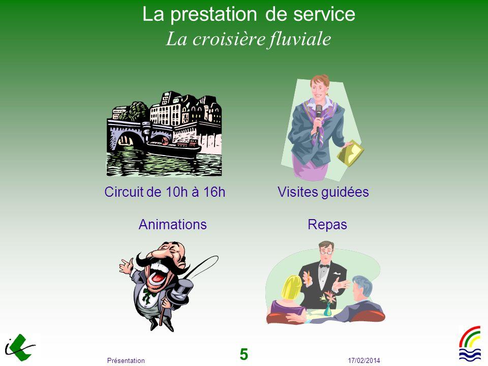 17/02/2014Présentation 5 La prestation de service La croisière fluviale Circuit de 10h à 16h Visites guidées Animations Repas