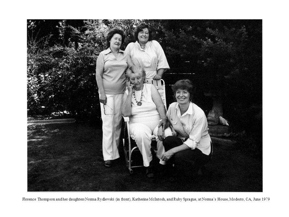 Florence Thompson and her daughters Norma Rydlewski (in front), Katherine McIntosh, and Ruby Sprague, at Normas House, Modesto, CA, June 1979