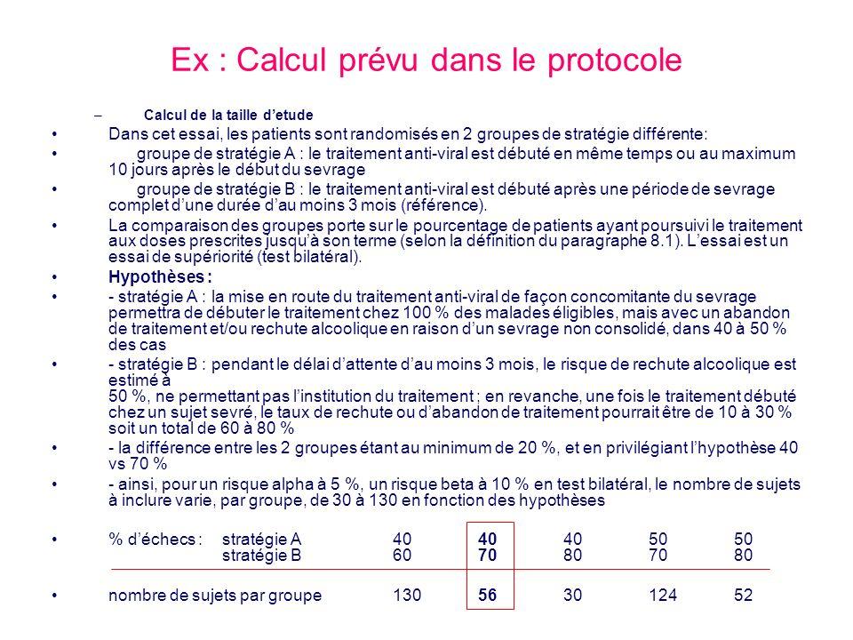 Ex : Calcul prévu dans le protocole –Calcul de la taille detude Dans cet essai, les patients sont randomisés en 2 groupes de stratégie différente: gro
