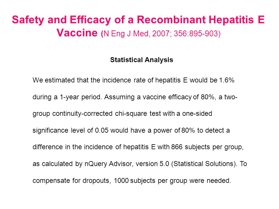 Statistical Analysis We estimated that the incidence rate of hepatitis E would be 1.6% during a 1-year period. Assuming a vaccine efficacy of 80%, a t
