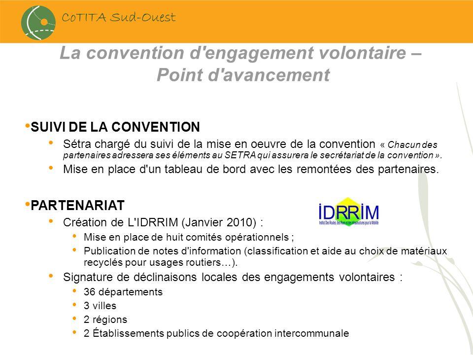 SUIVI DE LA CONVENTION Sétra chargé du suivi de la mise en oeuvre de la convention « Chacun des partenaires adressera ses éléments au SETRA qui assure