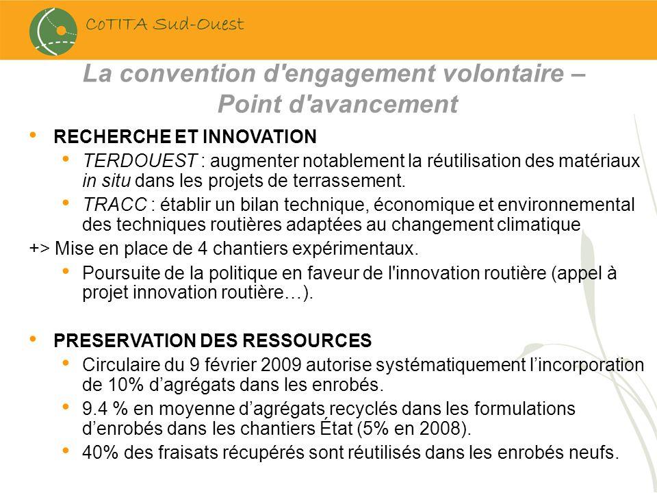 La convention d'engagement volontaire – Point d'avancement RECHERCHE ET INNOVATION TERDOUEST : augmenter notablement la réutilisation des matériaux in
