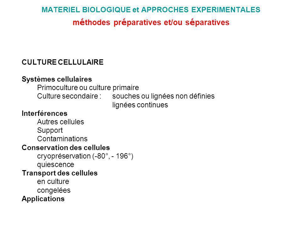 MATERIEL BIOLOGIQUE et APPROCHES EXPERIMENTALES m é thodes pr é paratives et/ou s é paratives CULTURE CELLULAIRE Systèmes cellulaires Primoculture ou