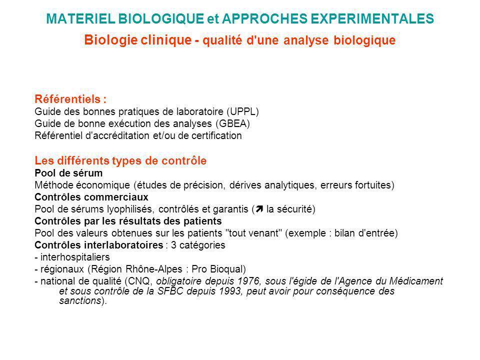 MATERIEL BIOLOGIQUE et APPROCHES EXPERIMENTALES Biologie clinique - qualité d'une analyse biologique Référentiels : Guide des bonnes pratiques de labo