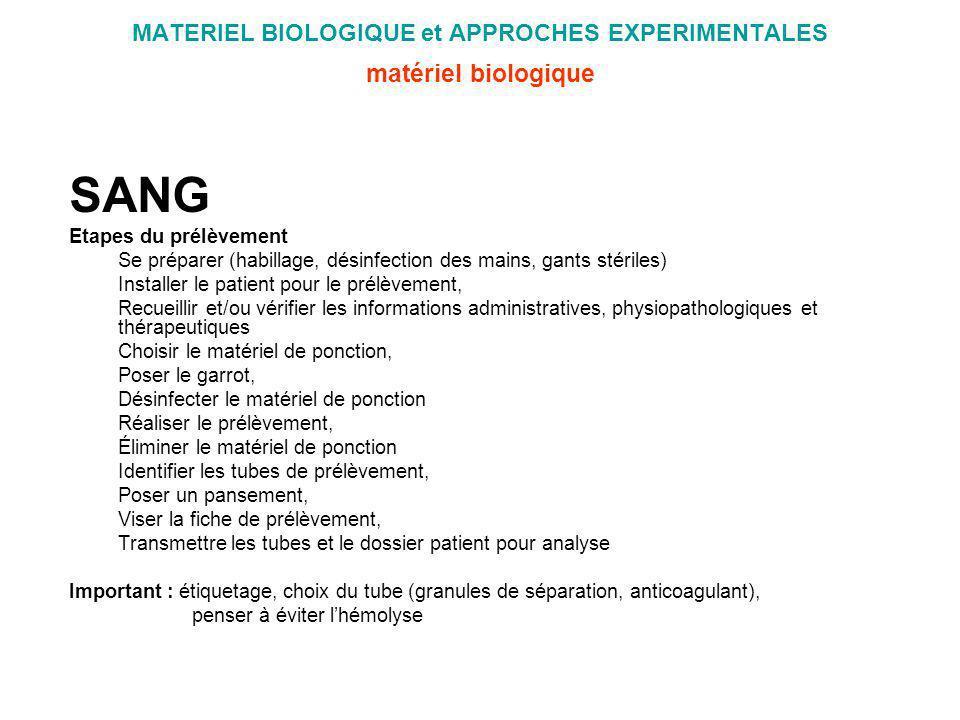 MATERIEL BIOLOGIQUE et APPROCHES EXPERIMENTALES matériel biologique SANG Etapes du prélèvement Se préparer (habillage, désinfection des mains, gants s