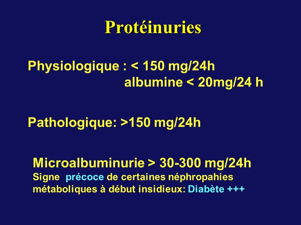 Protéinuries Protéinuries Physiologique : < 150 mg/24h albumine < 20mg/24 h Pathologique: >150 mg/24h Microalbuminurie > 30-300 mg/24h Signe précoce d