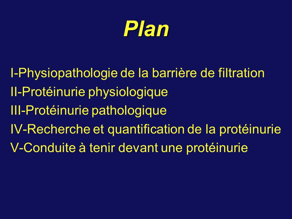 Plan I-Physiopathologie de la barrière de filtration II-Protéinurie physiologique III-Protéinurie pathologique IV-Recherche et quantification de la pr