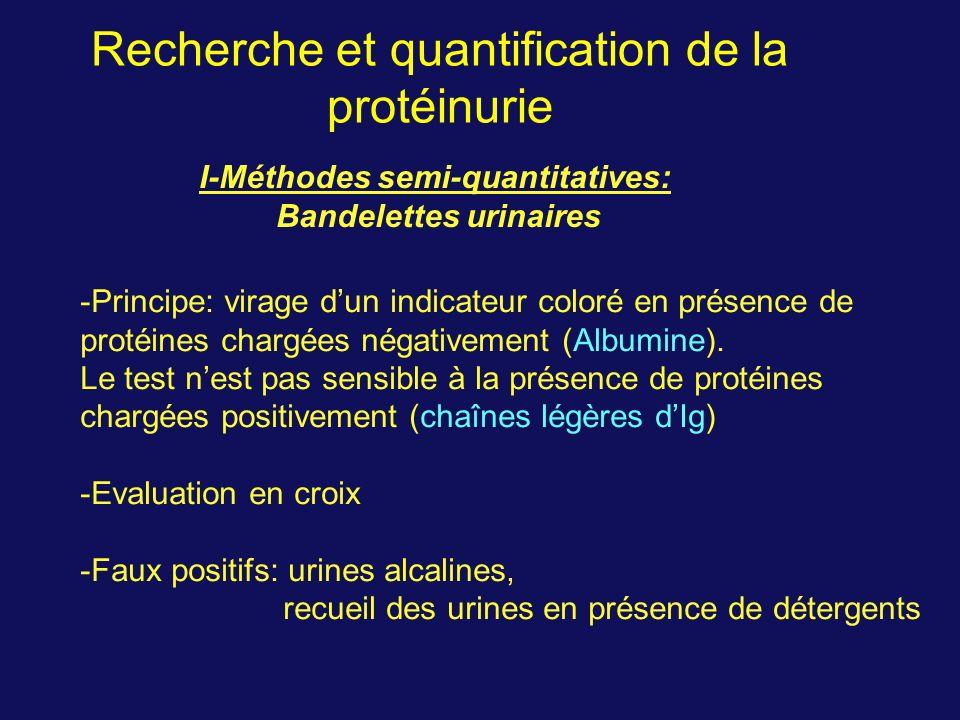 Recherche et quantification de la protéinurie I-Méthodes semi-quantitatives: Bandelettes urinaires -Principe: virage dun indicateur coloré en présence