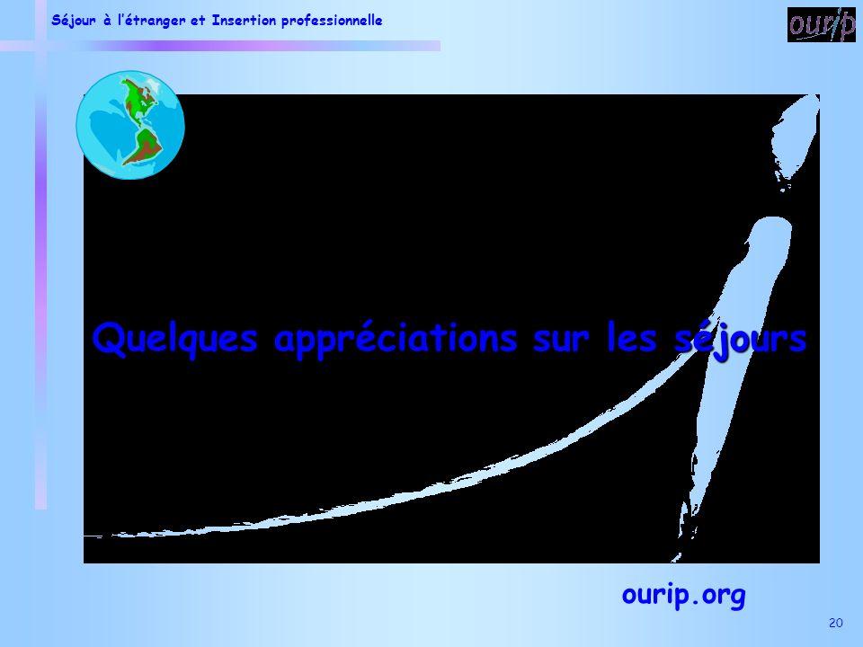 Séjour à létranger et Insertion professionnelle 20 Quelques appréciations sur les séjours ourip.org