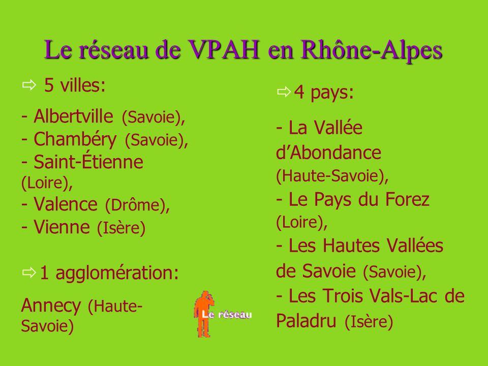 Le réseau de VPAH en Rhône-Alpes 5 villes: - Albertville (Savoie), - Chambéry (Savoie), - Saint-Étienne (Loire), - Valence (Drôme), - Vienne (Isère) 1 agglomération: Annecy (Haute- Savoie) 4 pays: - La Vallée dAbondance (Haute-Savoie), - Le Pays du Forez (Loire), - Les Hautes Vallées de Savoie (Savoie), - Les Trois Vals-Lac de Paladru (Isère)