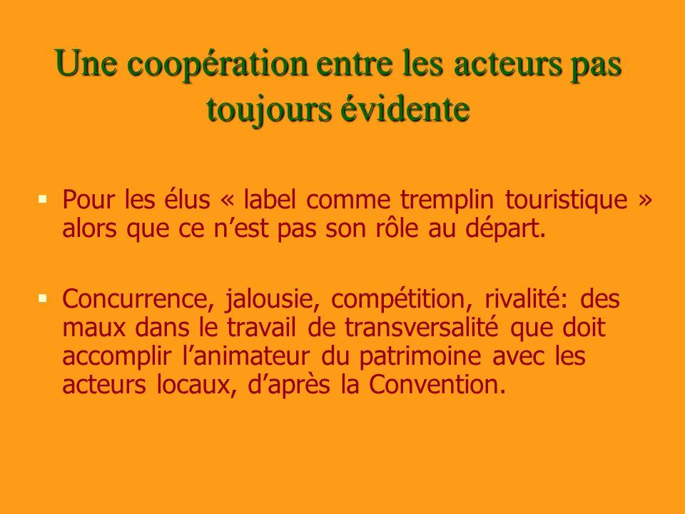 Une coopération entre les acteurs pas toujours évidente Pour les élus « label comme tremplin touristique » alors que ce nest pas son rôle au départ. C