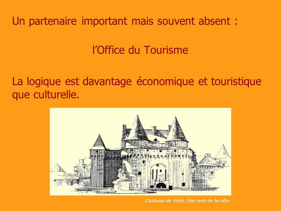 Un partenaire important mais souvent absent : lOffice du Tourisme La logique est davantage économique et touristique que culturelle. Château de Vitré.