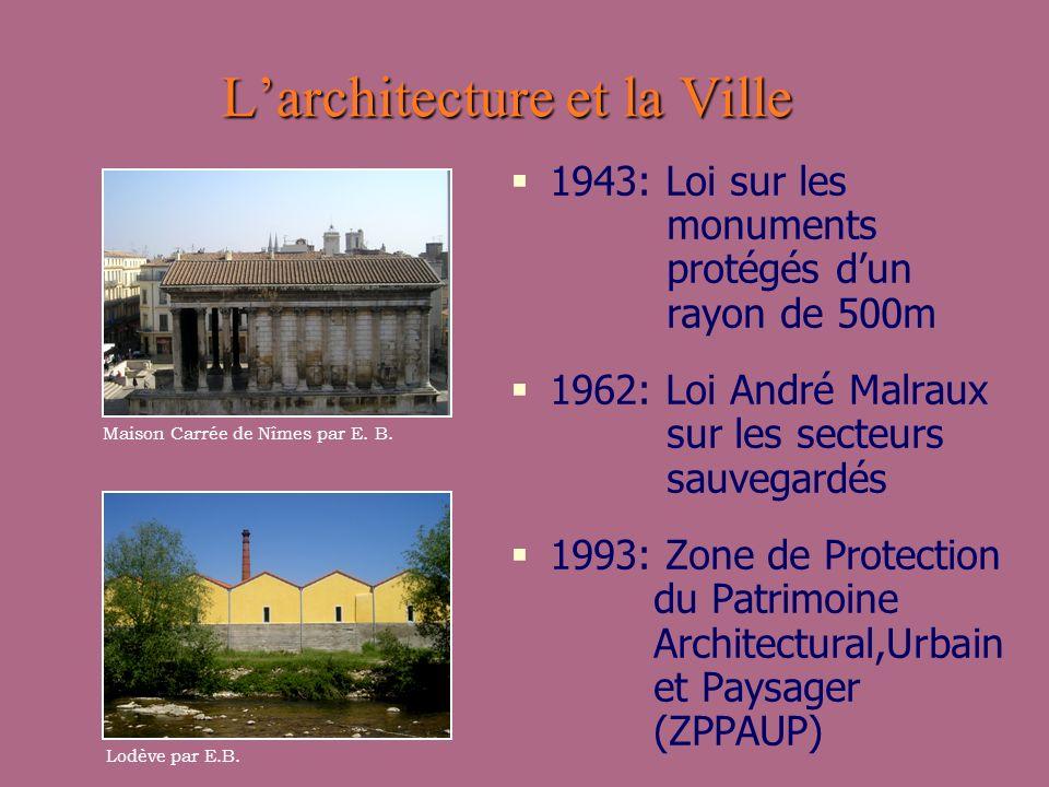 Larchitecture et la Ville 1943: Loi sur les monuments protégés dun rayon de 500m 1962: Loi André Malraux sur les secteurs sauvegardés 1993: Zone de Pr