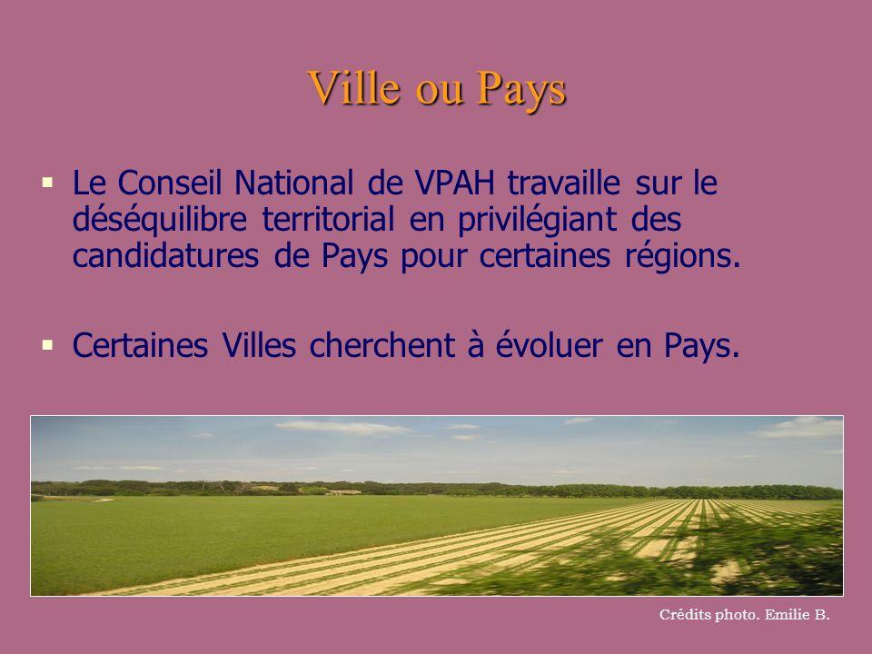 Ville ou Pays Le Conseil National de VPAH travaille sur le déséquilibre territorial en privilégiant des candidatures de Pays pour certaines régions. C