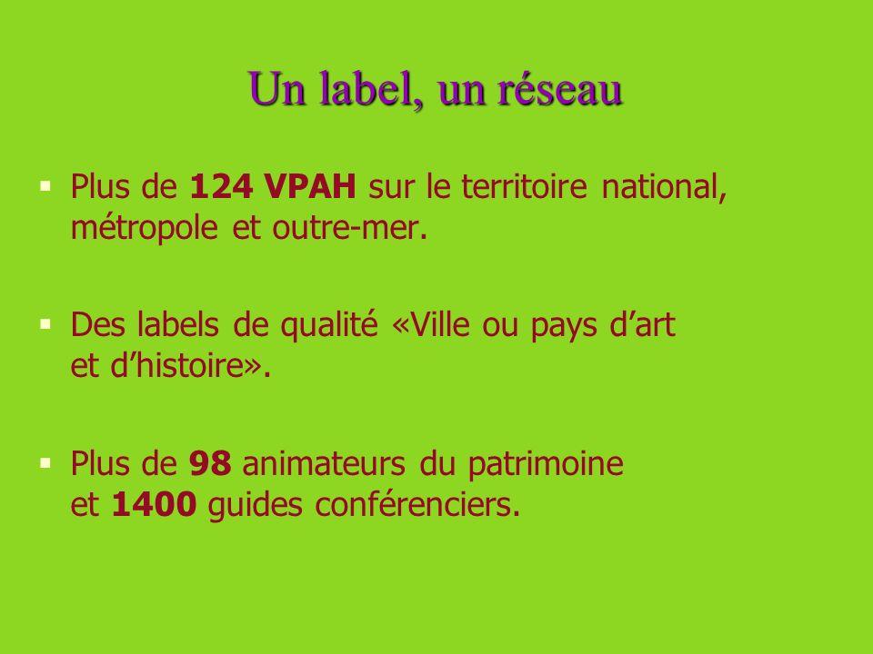 Un label, un réseau Plus de 124 VPAH sur le territoire national, métropole et outre-mer. Des labels de qualité «Ville ou pays dart et dhistoire». Plus