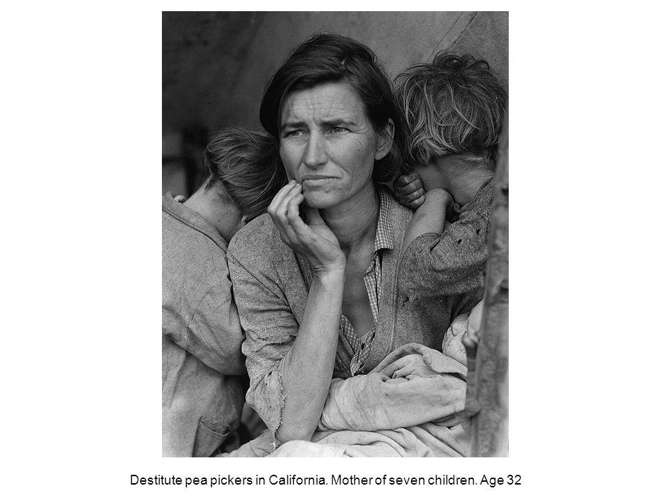 Destitute pea pickers in California. Mother of seven children. Age 32