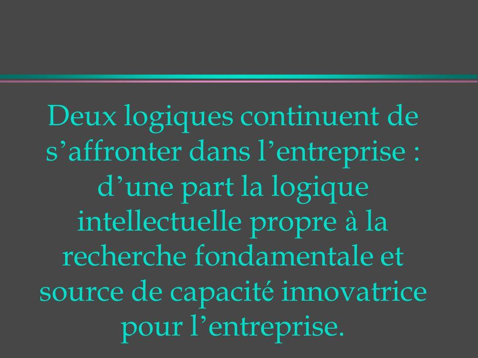 Deux logiques continuent de s affronter dans l entreprise : d une part la logique intellectuelle propre à la recherche fondamentale et source de capacit é innovatrice pour l entreprise.