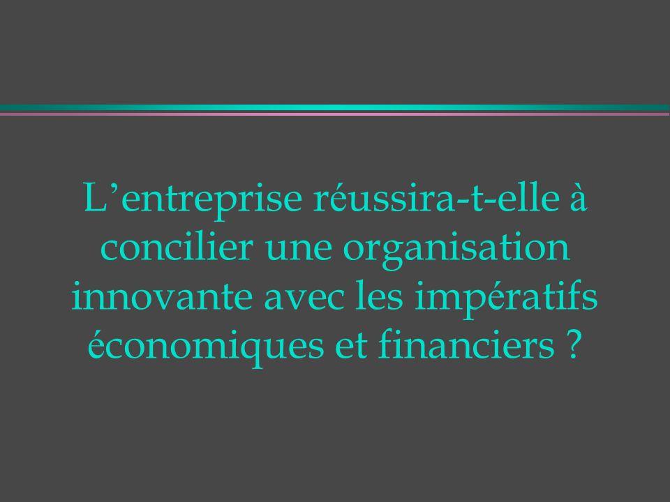 L entreprise r é ussira-t-elle à concilier une organisation innovante avec les imp é ratifs é conomiques et financiers