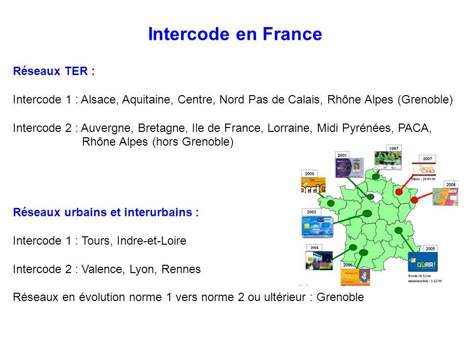 Intercode en France Réseaux TER : Intercode 1 : Alsace, Aquitaine, Centre, Nord Pas de Calais, Rhône Alpes (Grenoble) Intercode 2 : Auvergne, Bretagne