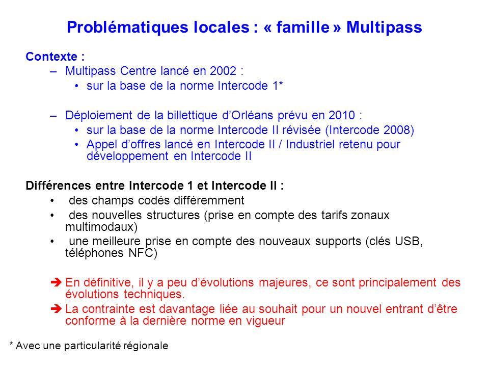 Problématiques locales : « famille » Multipass Contexte : –Multipass Centre lancé en 2002 : sur la base de la norme Intercode 1* –Déploiement de la bi
