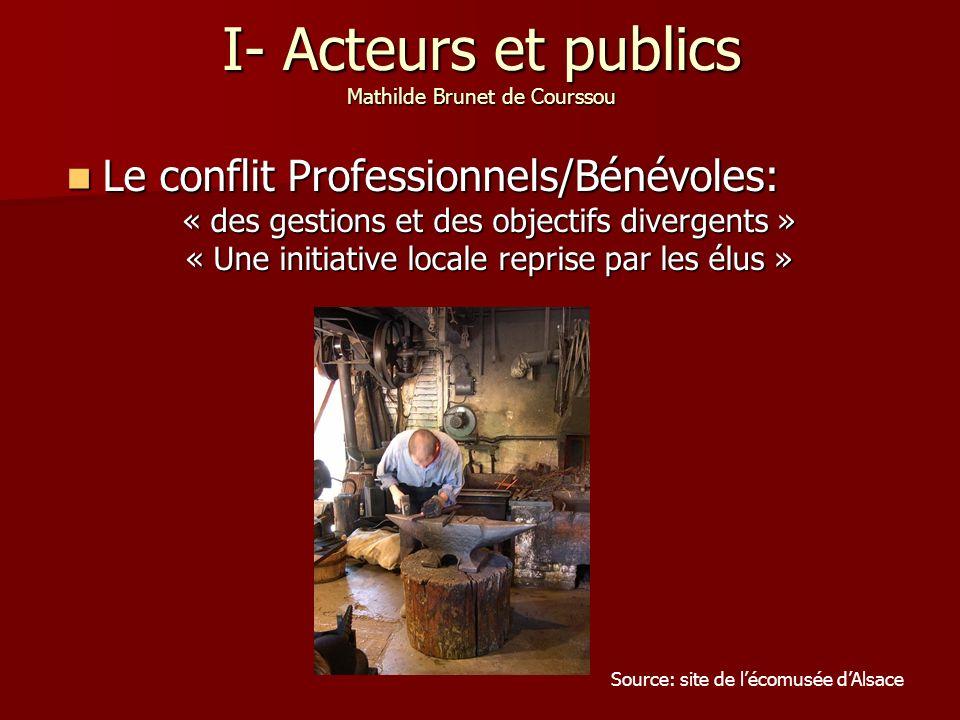 I- Acteurs et publics Mathilde Brunet de Courssou Le conflit Professionnels/Bénévoles: Le conflit Professionnels/Bénévoles: « des gestions et des obje