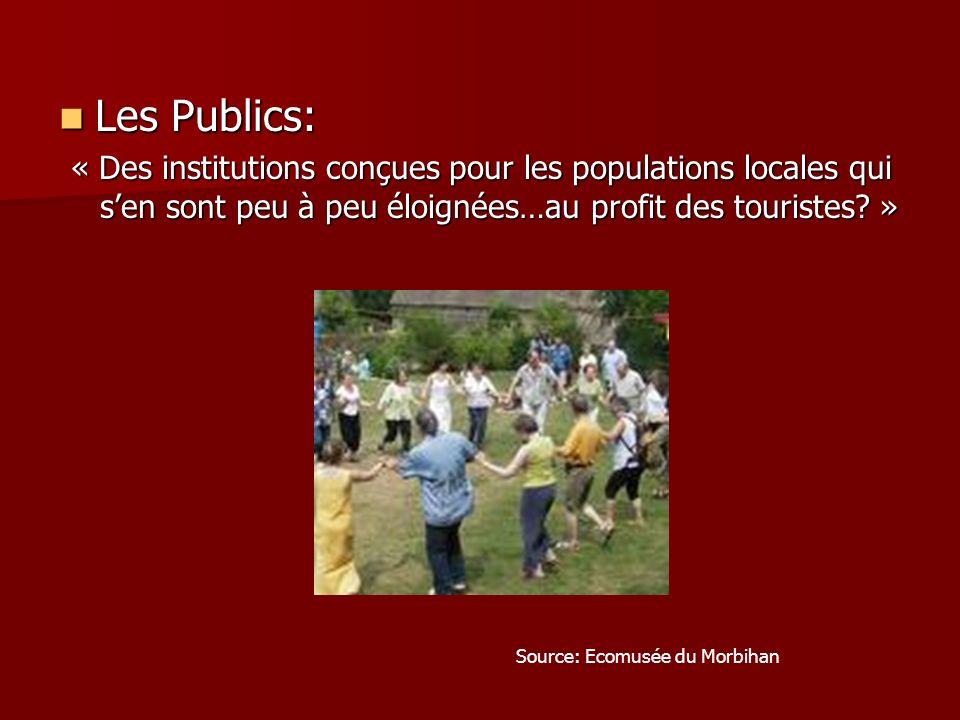 Les Publics: Les Publics: « Des institutions conçues pour les populations locales qui sen sont peu à peu éloignées…au profit des touristes? » Source: